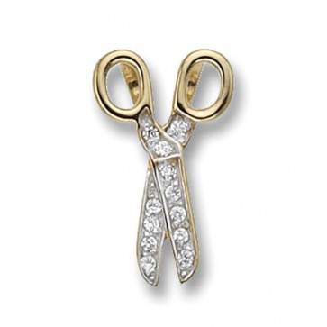 Children's 9ct Gold Cubic Zirconia Set Scissors Pendant On A Prince of Wales Necklace