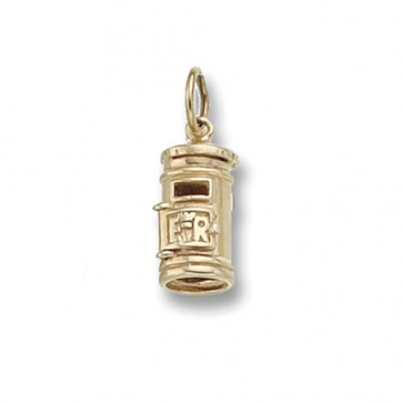 Men's 9ct Gold Post Box Pendant On A Curb Necklace