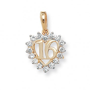 9ct Gold 16th Birthday Cubic Zirconia Heart Pendant On A Belcher Necklace