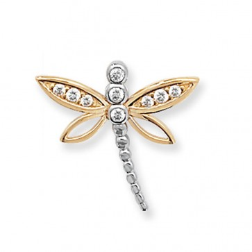 Children's 9ct Gold Cubic Zirconia Dragonfly Pendant On A Prince of Wales Necklace