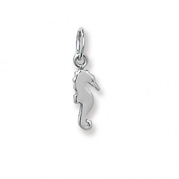 9ct White Gold Seahorse Pendant On A Belcher Necklace