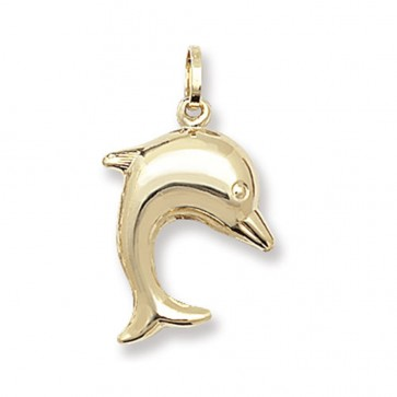 9ct Gold Dolphin Pendant On A Belcher Necklace