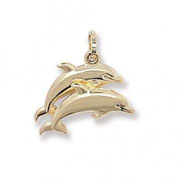 9ct Gold Double Dolphin Pendant On A Belcher Necklace
