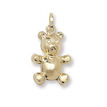 Men's 9ct Gold Teddy Bear Pendant On A Curb Necklace