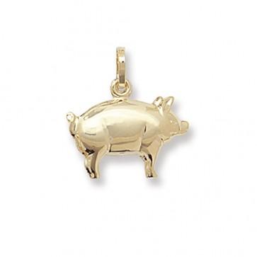 9ct Gold Pig Pendant On A Belcher Necklace