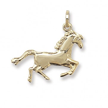 9ct Gold Horse Pendant On A Belcher Necklace