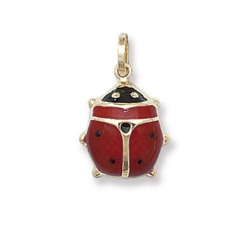 9ct Gold Ladybird Pendant On A Belcher Necklace