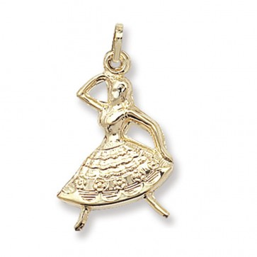 Men's 9ct Gold Dancer Pendant On A Curb Necklace