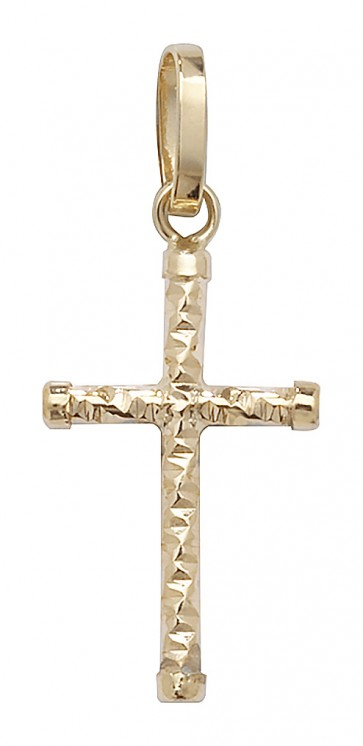 Men's 9ct Gold Cross Pendant On A Curb Necklace
