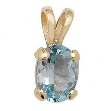 Children's 9ct Gold Oval Shape Blue Topaz Pendant On A Prince of Wales Necklace