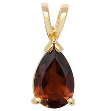 Children's 9ct Gold Pear Shape Garnet Pendant On A Prince of Wales Necklace