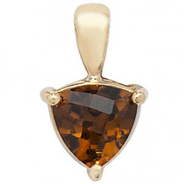 Children's 9ct Gold Trillion Shape Garnet Pendant On A Prince of Wales Necklace