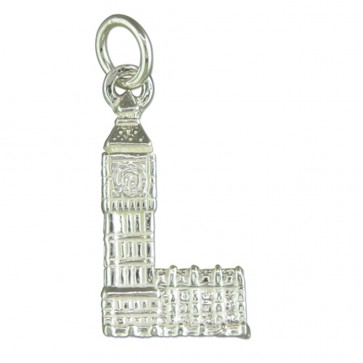 Children's Sterling Silver Big Ben Pendant On A Curb Necklace
