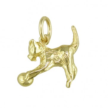 9ct Gold Cat Pendant On A Belcher Necklace