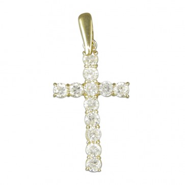 Children's 9ct Gold Cubic Zirconia Cross Pendant On A Prince of Wales Necklace