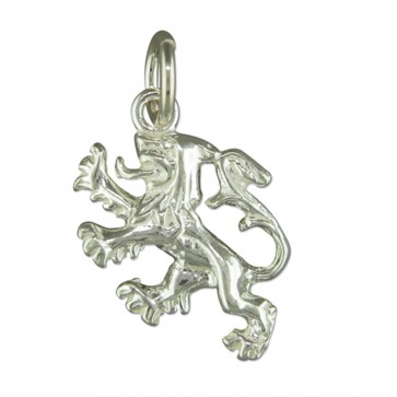 Sterling Silver Scottish Lion Rampant Pendant On A Snake Necklace