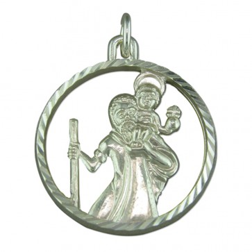 Men's Sterling Silver Round Cut out St Christopher Pendant On A Black Leather Cord Necklace