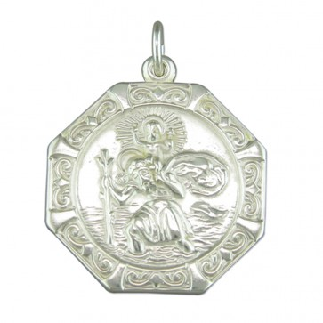 Sterling Silver Medium Octagonal St Christopher Pendant On A Snake Necklace