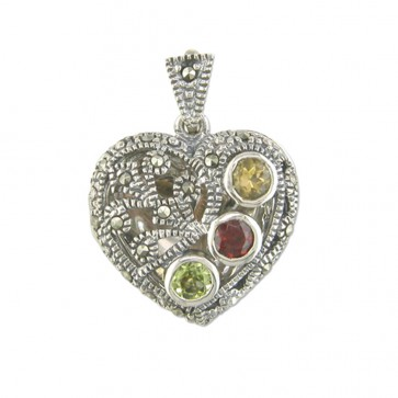 Children's Sterling Silver Marcasite Multi Stone Heart Locket On A Curb Necklace