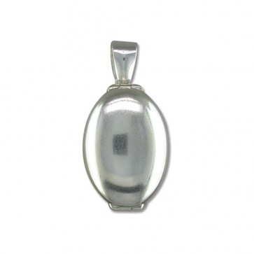 Sterling Silver Plain 4 Way Oval Locket On A Snake Necklace