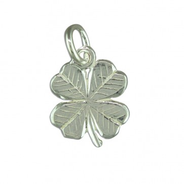 Men's Sterling Silver Four Leaf Clover Pendant On A Black Leather Cord Necklace