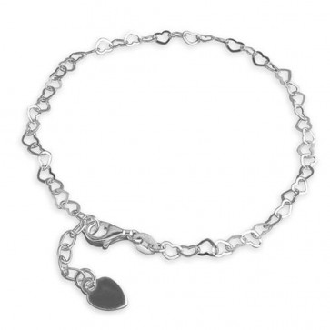 Sterling Silver Small Open Hearts Anklet