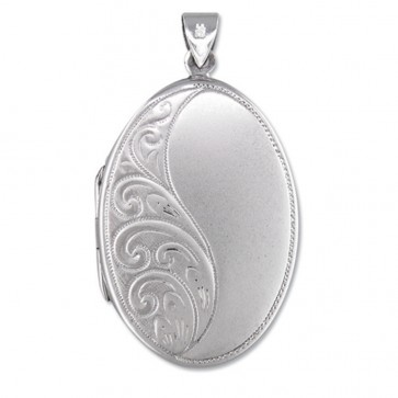 Children's Sterling Silver Half Embossed Oval Locket On A Curb Necklace