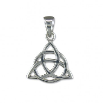 Men's Sterling Silver Triquetra Pendant On A Black Leather Cord Necklace