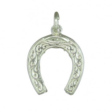 Children's Sterling Silver Horseshoe Pendant On A Curb Necklace
