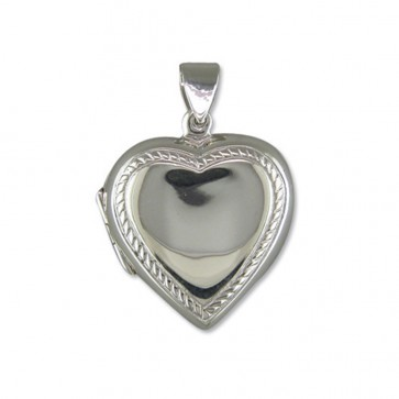 Men's Sterling Silver Plain Heart With Rope Edge Locket On A Black Leather Cord Necklace