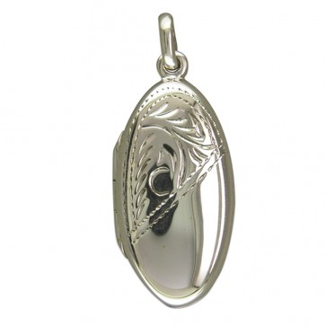 Men's Sterling Silver Half Engraved Long Oval Locket On A Black Leather Cord Necklace