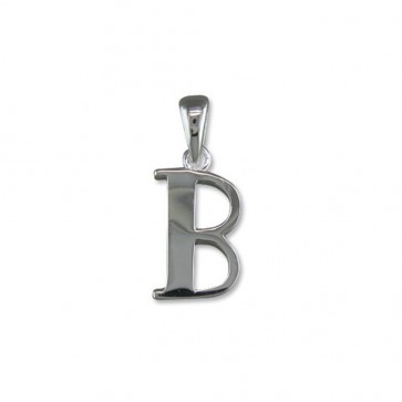 Men's Sterling Silver Initial B Pendant On A Black Leather Cord Necklace