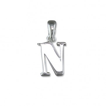 Men's Sterling Silver Initial N Pendant On A Black Leather Cord Necklace