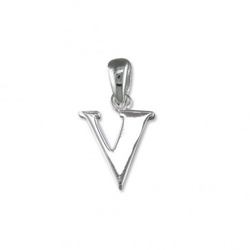 Men's Sterling Silver Initial V Pendant On A Black Leather Cord Necklace