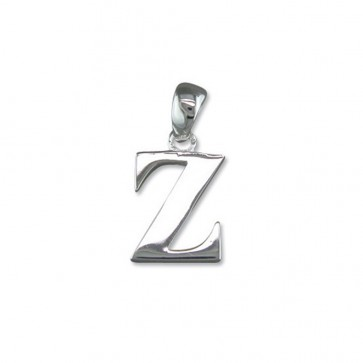 Men's Sterling Silver Initial Z Pendant On A Black Leather Cord Necklace
