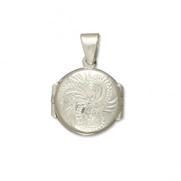 Children's Sterling Silver Engraved Small Round Four Way Locket On A Curb Necklace