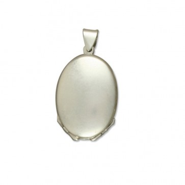 Children's Sterling Silver Four Way Plain Oval Locket On A Curb Necklace