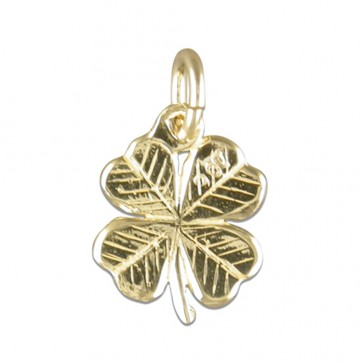 Men's 9ct Gold Four Leaf Clover Pendant On A Curb Necklace
