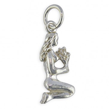 Children's Sterling Silver Zodiac Sign Virgo Pendant On A Curb Necklace