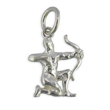 Children's Sterling Silver Zodiac Sign Sagittarius Pendant On A Curb Necklace