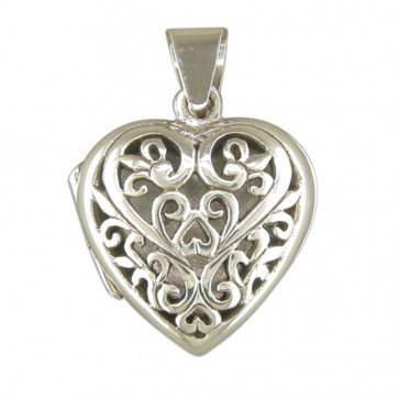 Men's Sterling Silver Filigree Heart Locket On A Black Leather Cord Necklace