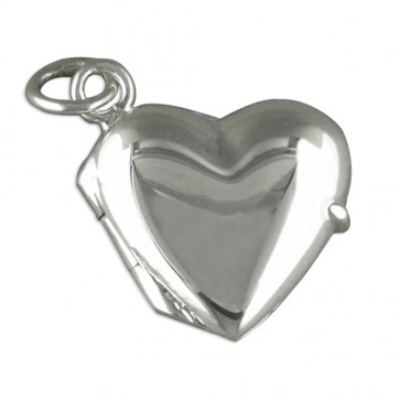Sterling Silver Small Plain Heart Locket On A Snake Necklace