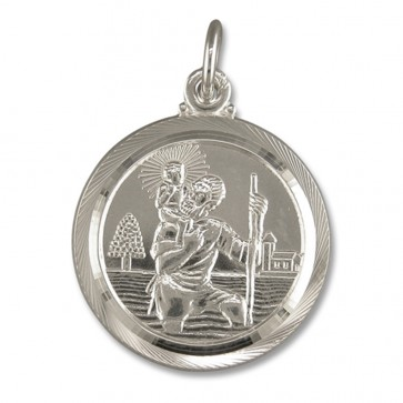 Sterling Silver Medium Double Sided St Christopher Pendant On A Snake Necklace