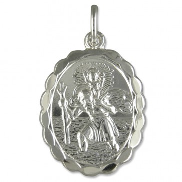 Children's Sterling Silver Oval Double Sided St Christopher Pendant On A Curb Necklace