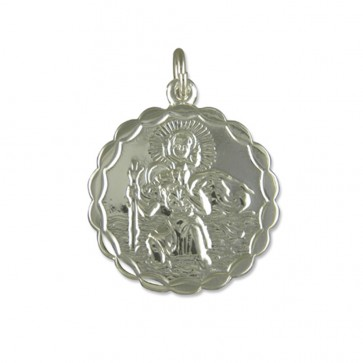 Children's Sterling Silver Small Round Double Sided St Christopher Pendant On A Curb Necklace