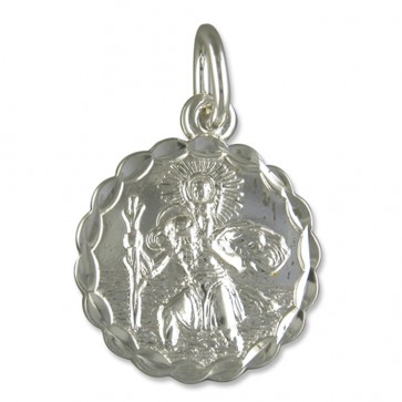 Sterling Silver Large Round Double Sided St Christopher Pendant On A Snake Necklace