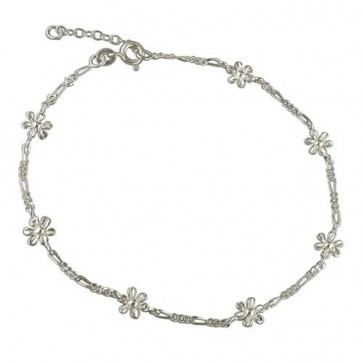 Sterling Silver Figaro And Flowers Anklet