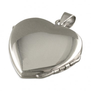 Children's Sterling Silver Plain Heart Locket On A Curb Necklace