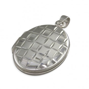 Children's Sterling Silver Plain Oval With Diamond Cut Squares Locket On A Curb Necklace