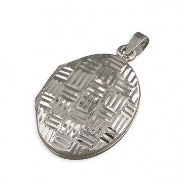 Men's Sterling Silver Diamond Cut Cross-Hatched Oval Locket On A Black Leather Cord Necklace